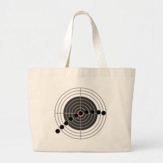 Machine gun bullet holes over shooting target jumbo tote bag