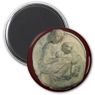 Madonna and Child, Tondo Pitti by Michelangelo 6 Cm Round Magnet