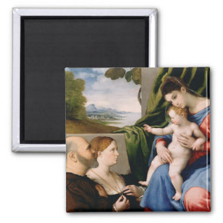 Madonna and Child with the Infant Saint John Square Magnet