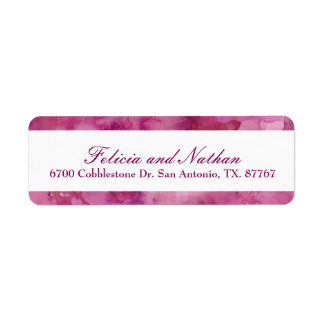 Magenta Abstract Watercolor Return Address Label