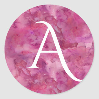 Magenta Cloud Bold Monogram Round Sticker