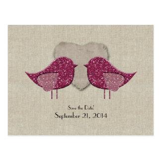 Magenta Lovebirds Linen Look Save the Date Postcard
