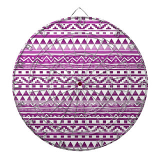 Magenta Watercolor Abstract Aztec Tribal Pattern Dart Board
