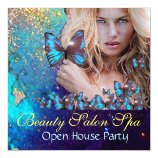 MAGIC BLUE BUTTERFLY Open House Party Monogram 13 Cm X 13 Cm Square Invitation Card