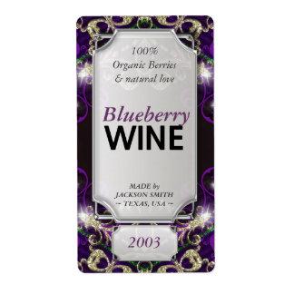 Magic Purple Gold Custom Text Wine Bottle Labels