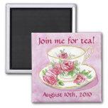 Magnet - Customise me! Pink Rose Teacup Tea