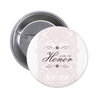 Maid Of Honor Button-Vintage Bloom 6 Cm Round Badge