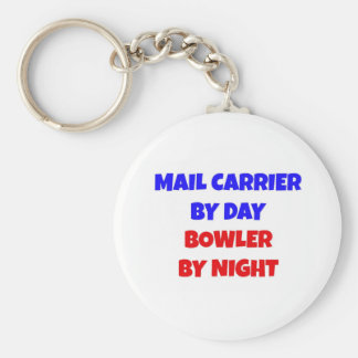 Mail Carrier by Day Bowler by Night Basic Round Button Key Ring