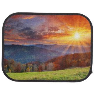 Majestic sunrise in the mountains landscape floor mat