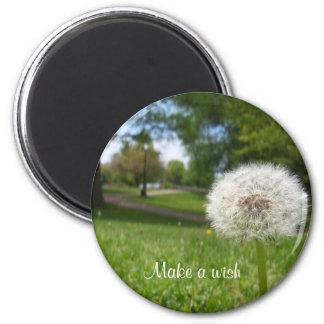 Make a wish on a dandelion 6 cm round magnet