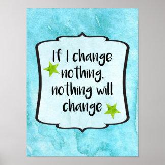 Make Positive Change Motivation Affirmation Quote Poster