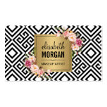 Makeup Artist Gold Abstract Pattern Floral Decor Pack Of Standard Business Cards