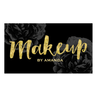 Makeup Artist Gold Script Elegant Black Floral Pack Of Standard Business Cards