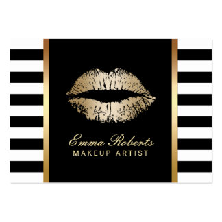 Makeup Artist Modern Stripes Gold Lips Chubby Pack Of Chubby Business Cards