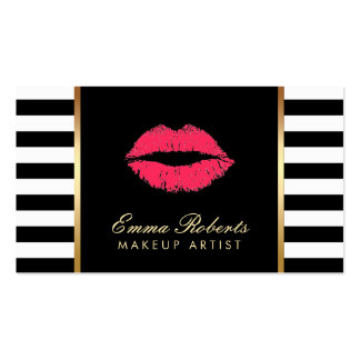 Makeup Artist Red Lips Modern Black White Stripes Pack Of Standard Business Cards