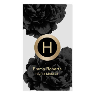 Makeup & Hair Modern Monogram Black & Gold Floral Pack Of Standard Business Cards
