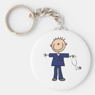 Male Stick Figure Nurse - Blue Basic Round Button Key Ring