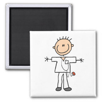 Male Stick Figure Nurse Tshirts and Gifts Square Magnet