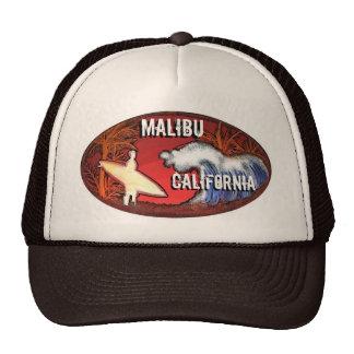 Malibu California surfer waves art brown hat