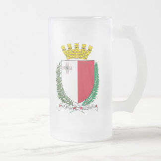 Malta Coat Of Arms Frosted Glass Mug