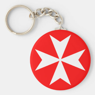 Maltese Cross Basic Round Button Key Ring
