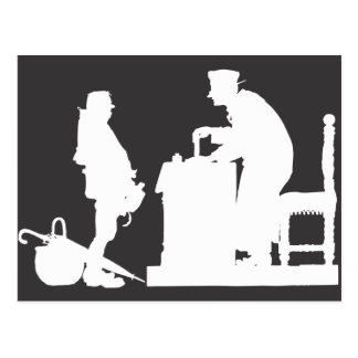 Man and Clerk, Digital Art Postcard