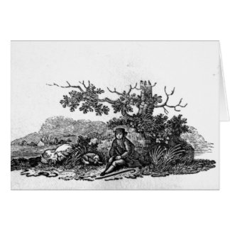 Man Seated by a Stunted Tree Greeting Card
