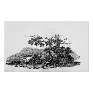 Man Seated by a Stunted Tree Poster