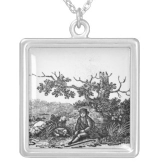 Man Seated by a Stunted Tree Square Pendant Necklace
