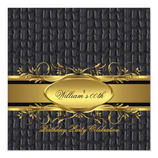 Mans Brown Black Gold Birthday Party Men's 13 Cm X 13 Cm Square Invitation Card
