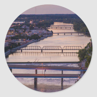 Many Bridges Span The Grand River, Sunset View Round Sticker