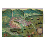Map of Chios, from 'Civitates Orbis Terrarum' by G Greeting Card