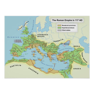 Map of the Maximum Extent of the Roman Empire Poster