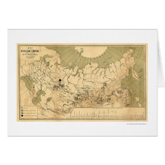 Map of the Russian Empire's Precious Metals 1890 Greeting Card