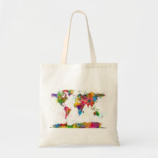 Map of the World Map Watercolor Budget Tote Bag