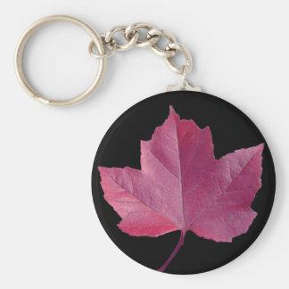 maple leaf design basic round button key ring