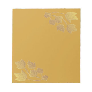 Maple Leaves Gold Faux Bas Relief Notepad
