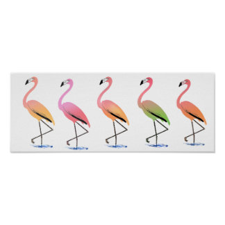 March of the Tropical Flamingos Poster