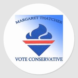 Margaret Thatcher Vote Conservative Round Sticker