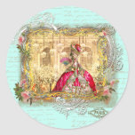 Marie Antoinette Party at Versailles in Aqua Round Sticker