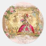 Marie Antoinette Versailles Party Pink Round Sticker