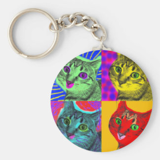 Marilyn Cats Basic Round Button Key Ring