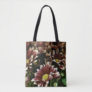 Maroon and Yellow Floral / Flower Photo Bag Tote Bag