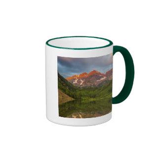 Maroon Bells Reflect Into Calm Maroon Lake 3 Ringer Mug