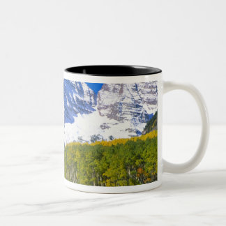 Maroon Bells with autumn aspen forest. Two-Tone Mug