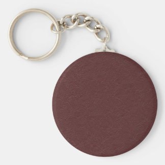 Maroon Leather Basic Round Button Key Ring
