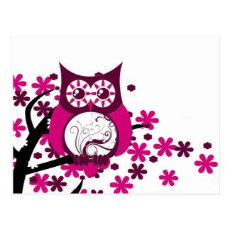 Maroon Swirly Owl Windy Tree Postcard