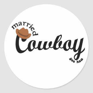 married cowboy yeehaw round sticker
