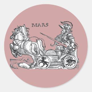 Mars Ares God of War Greek Roman Chariot Cartoon Round Sticker