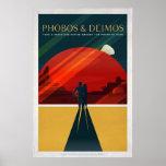 Mars Moons Phobos and Deimos Retro Space Tourism Poster